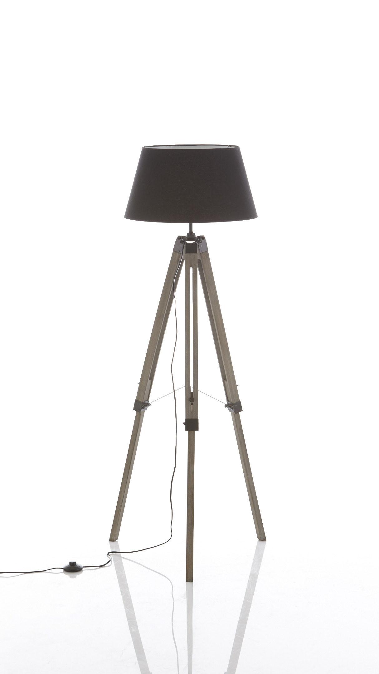 Raeume-Wohnzimmer-Lampen-und-Leuchten-Stehleuchte-Schram-in-Schwarz-Stativ-Stehleuchte-schwarzer-Stoff-und-Holz-Hoehe-ca-144-cm-guenstiger Stilvolle Lampen In Der Wand Dekorationen
