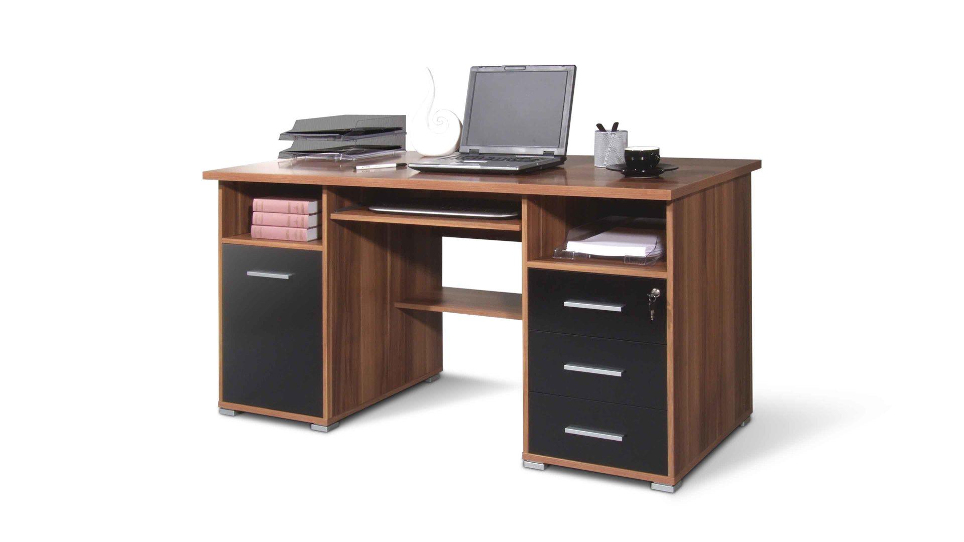 Computertisch Für Moderne Büros, Walnussfarbene U0026 Schwarze  Kunststoffoberflächen   Eine Tür U0026 Drei Schubladen, Zwei Offene Fächer